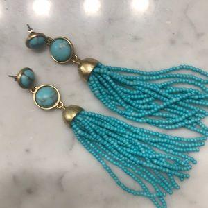 Lucky Brand turquoise tassel earrings